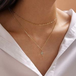 🆕3/$30 rhinestone star charm layered necklace